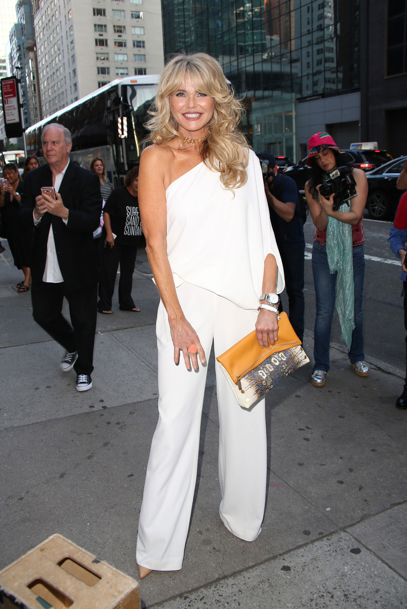 Christie Brinkely's One Shoulder Jumpsuit Halston Heritage