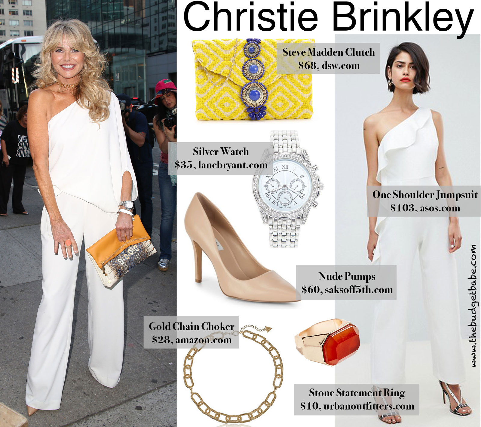 dee5032322d Christie Brinkely s One Shoulder Jumpsuit Look for Less Christie Brinkley  nails a ...