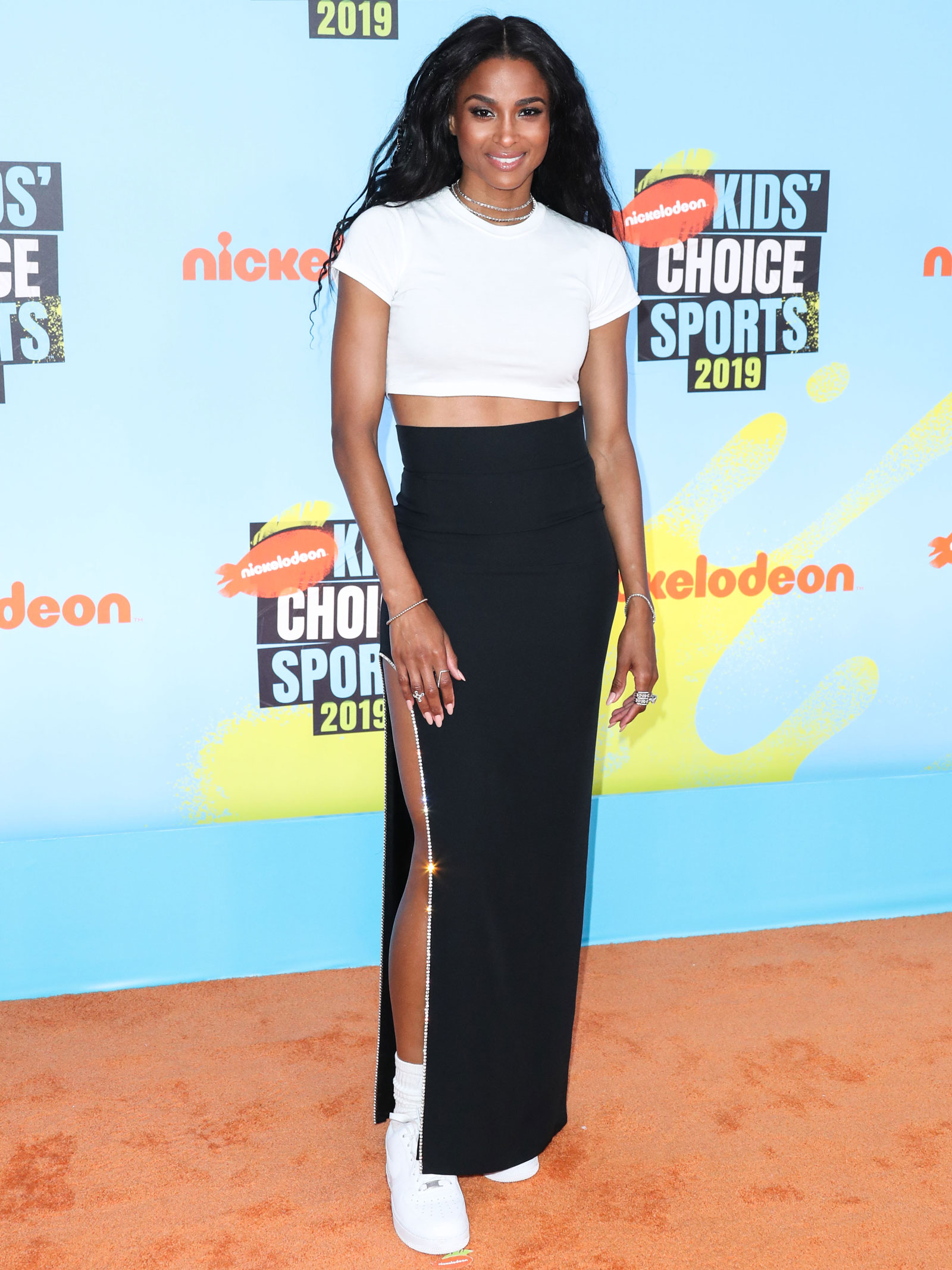 Ciara White Crop Top Black Maxi Skirt
