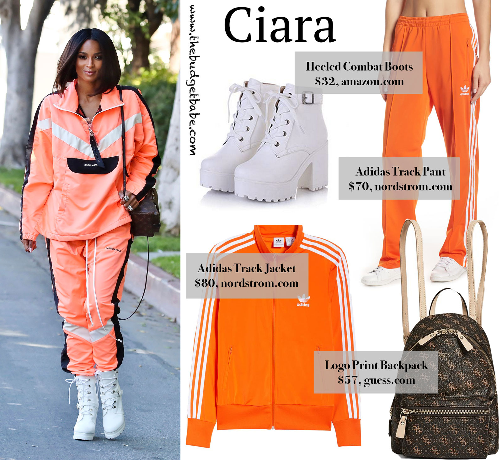 Ciara Orange Track Suit Look for Less