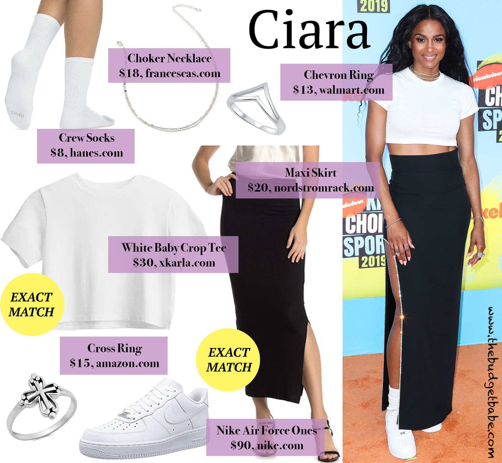 Ciara White Crop Top Black Maxi Skirt Look for Less