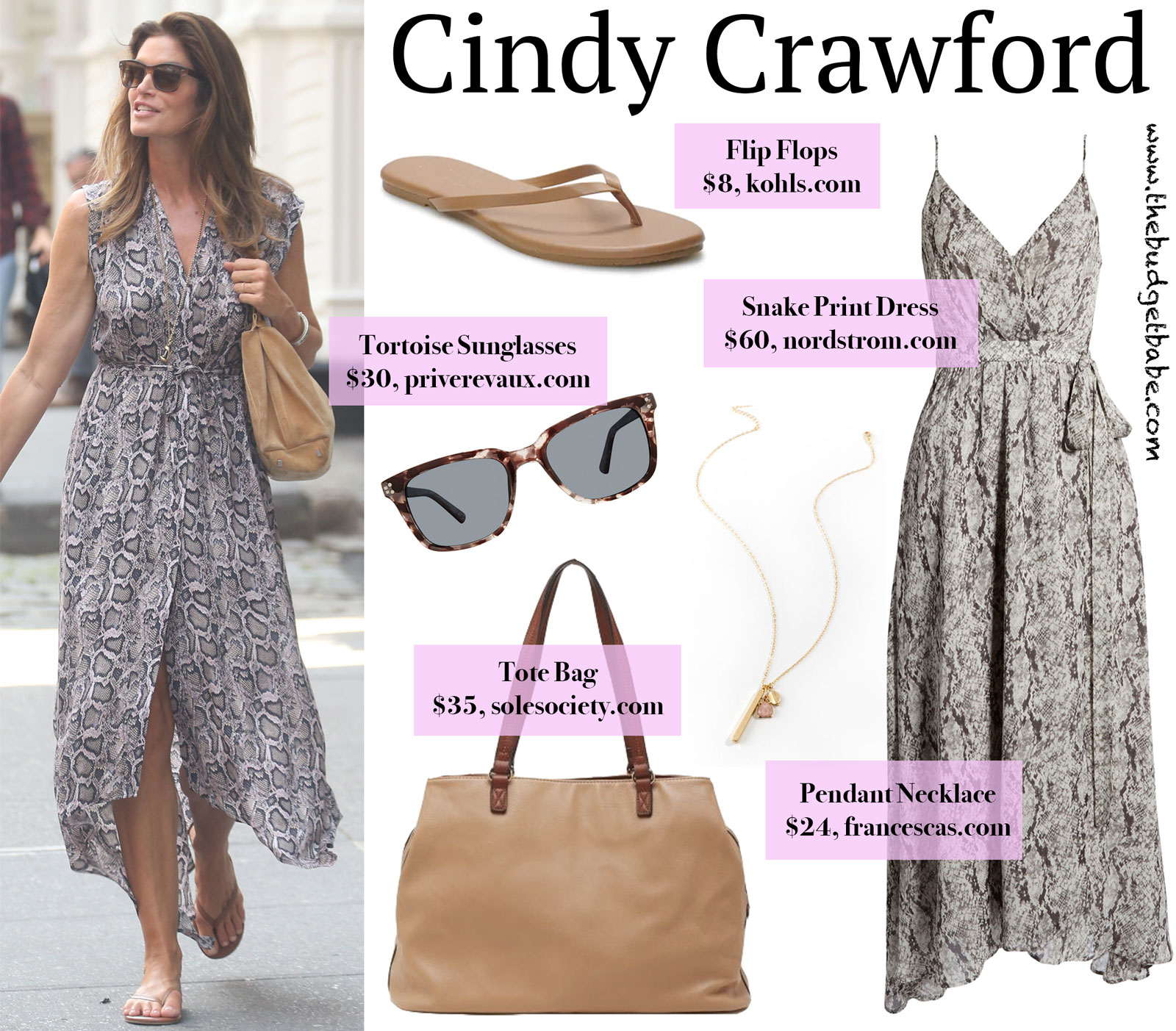 Cindy Crawford Snake Print Maxi Dress Look for Less