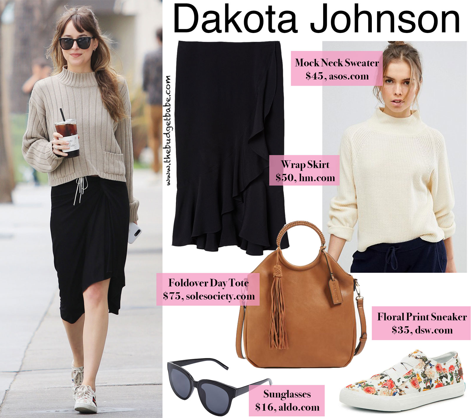 Dakota Johnson Mock Neck Sweater and Gucci Floral Sneakers Look for Less