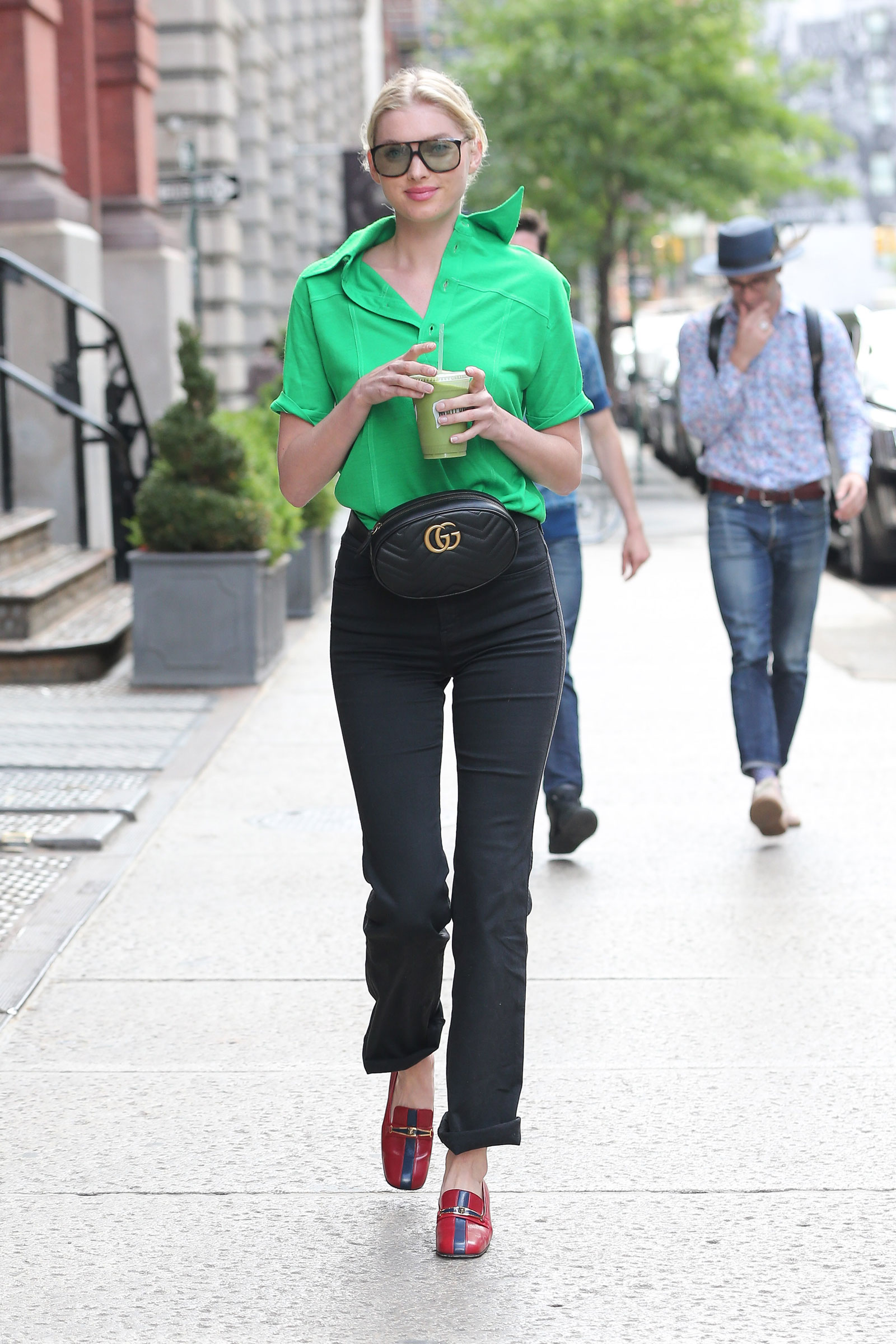 Elsa Hosk Green Blouse and Gucci Belt Bag