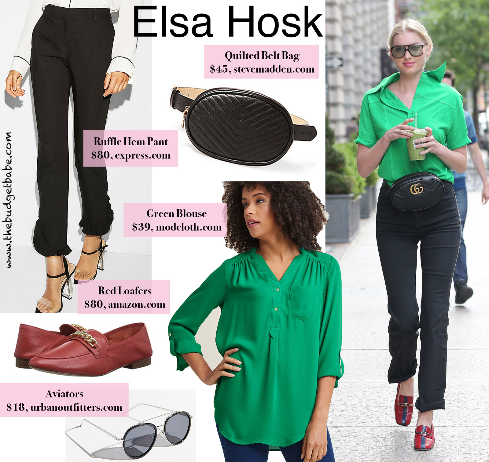 Elsa Hosk Green Blouse Look for Less