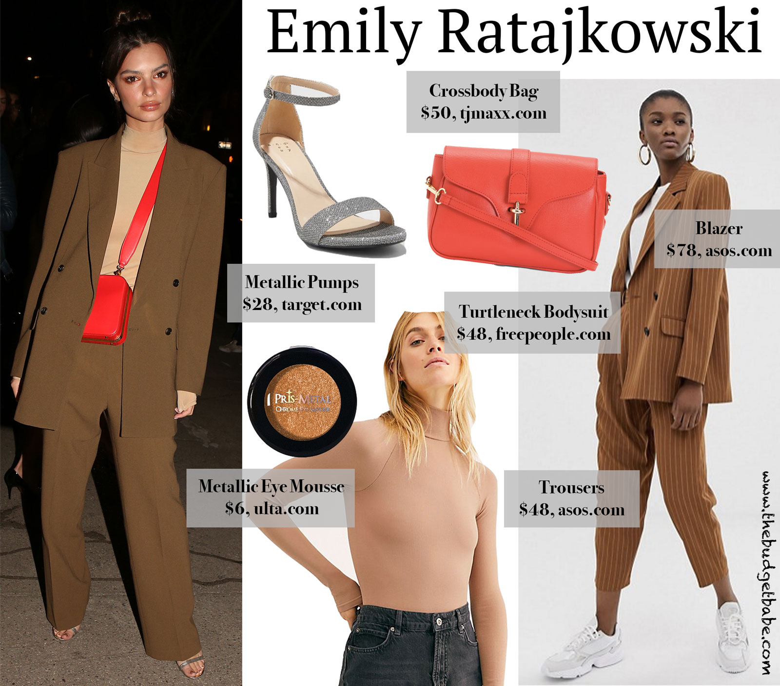 Emily Ratajkowski Brown Suit Red Bag Look for Less