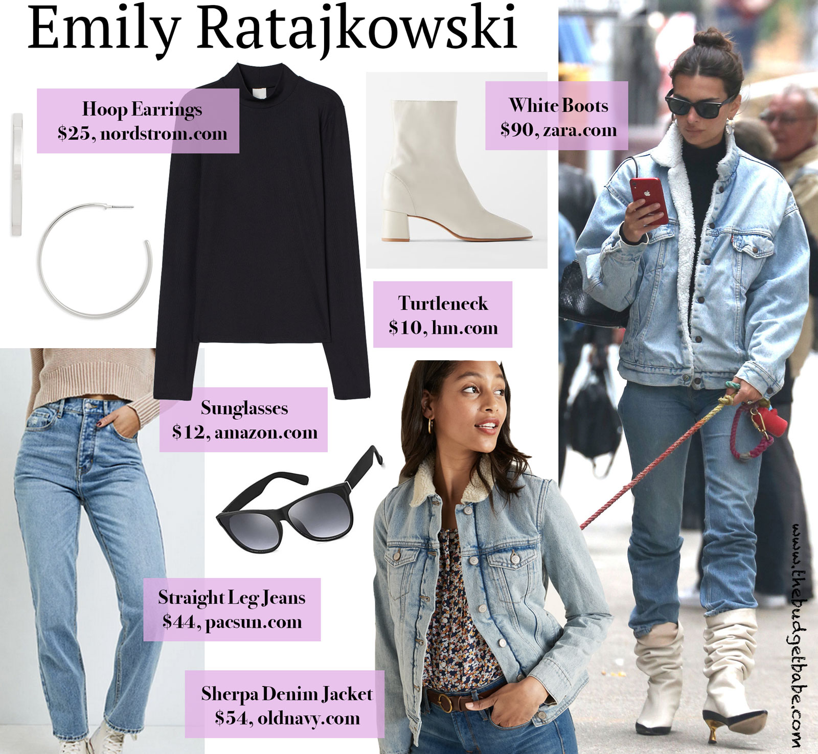 Emily Ratajkowski Sherpa Denim Look for Less