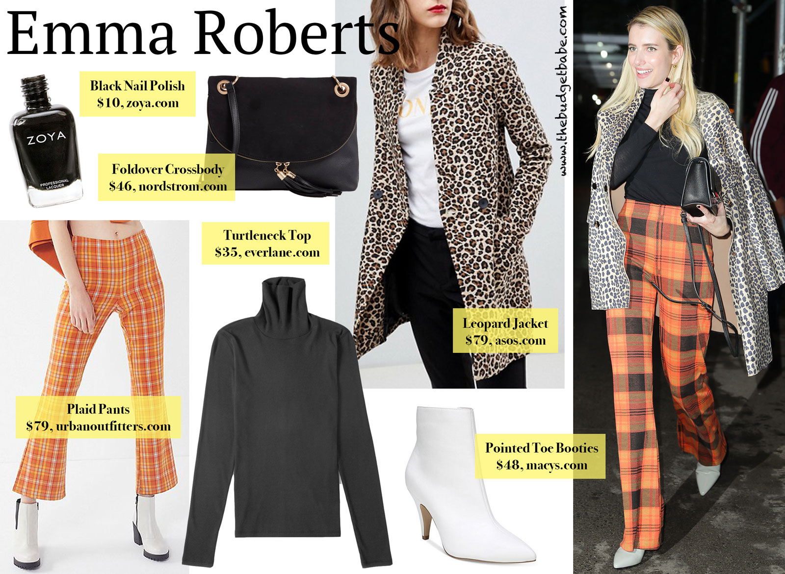 Emma Roberts Orange Plaid Pants Look for Less