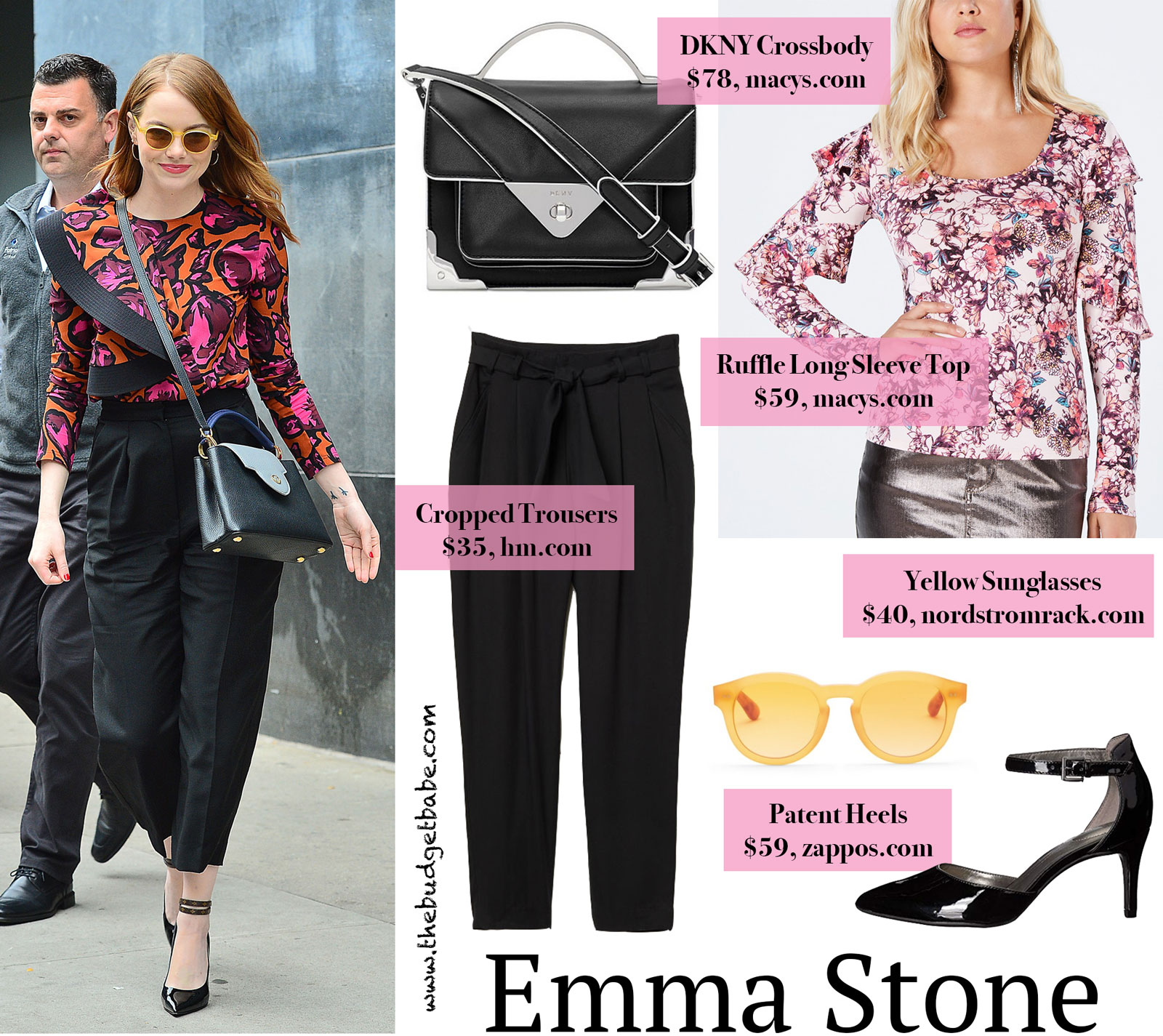 Emma Stone Ruffle Top and Black Trousers Look for Less