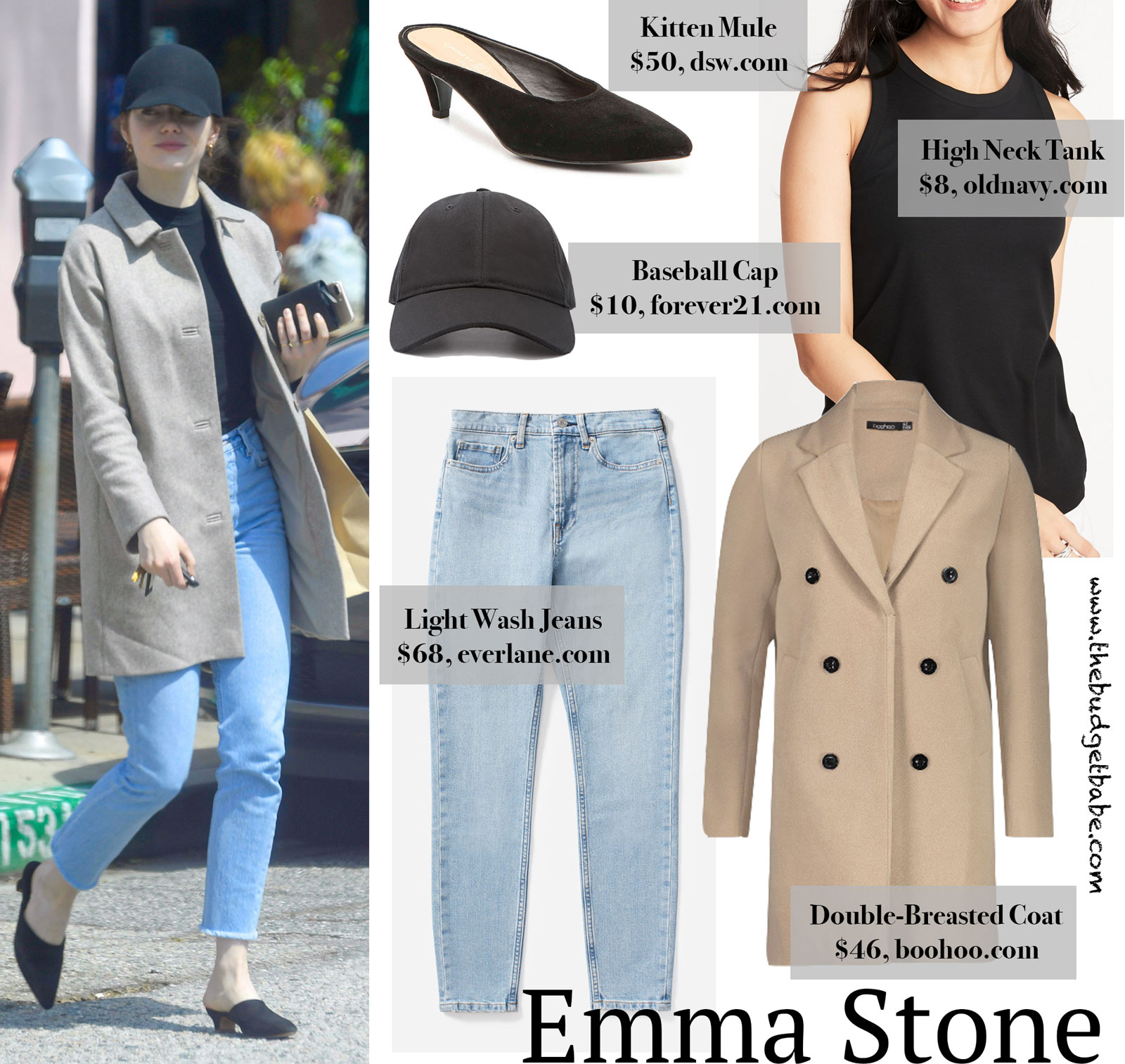 Emma Stone Tan Coat Baseball Cap Look for Less