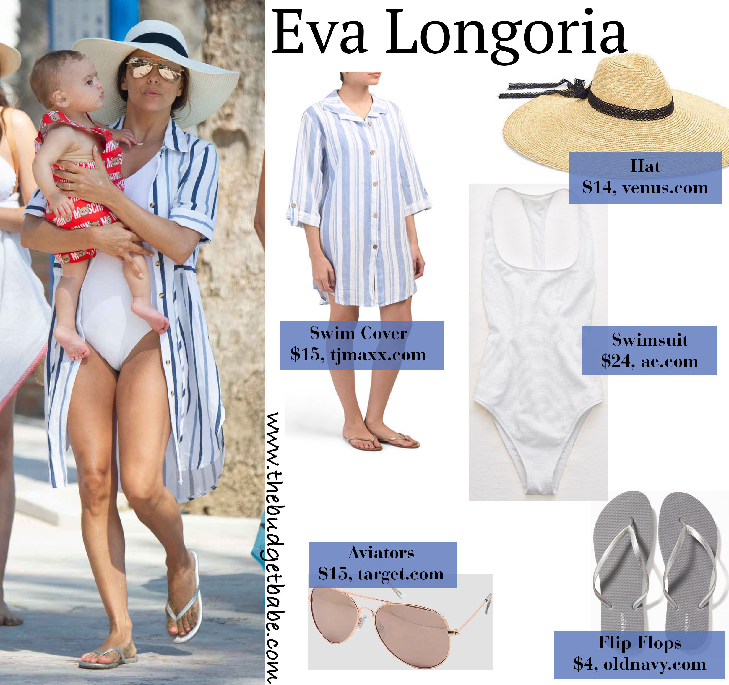 Eva Longoria White Swimsuit Button Down Cover Up Floppy Hat