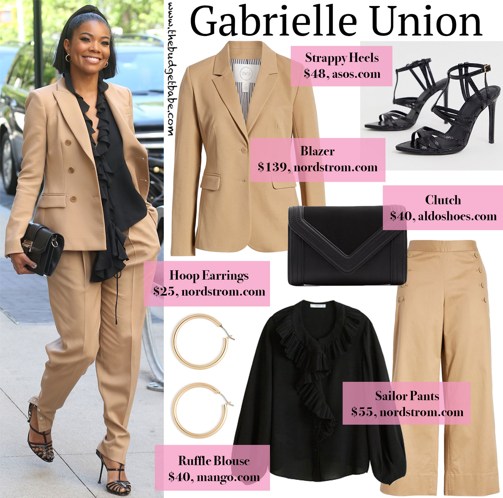 Gabrielle Union Tan Suit Look for Less
