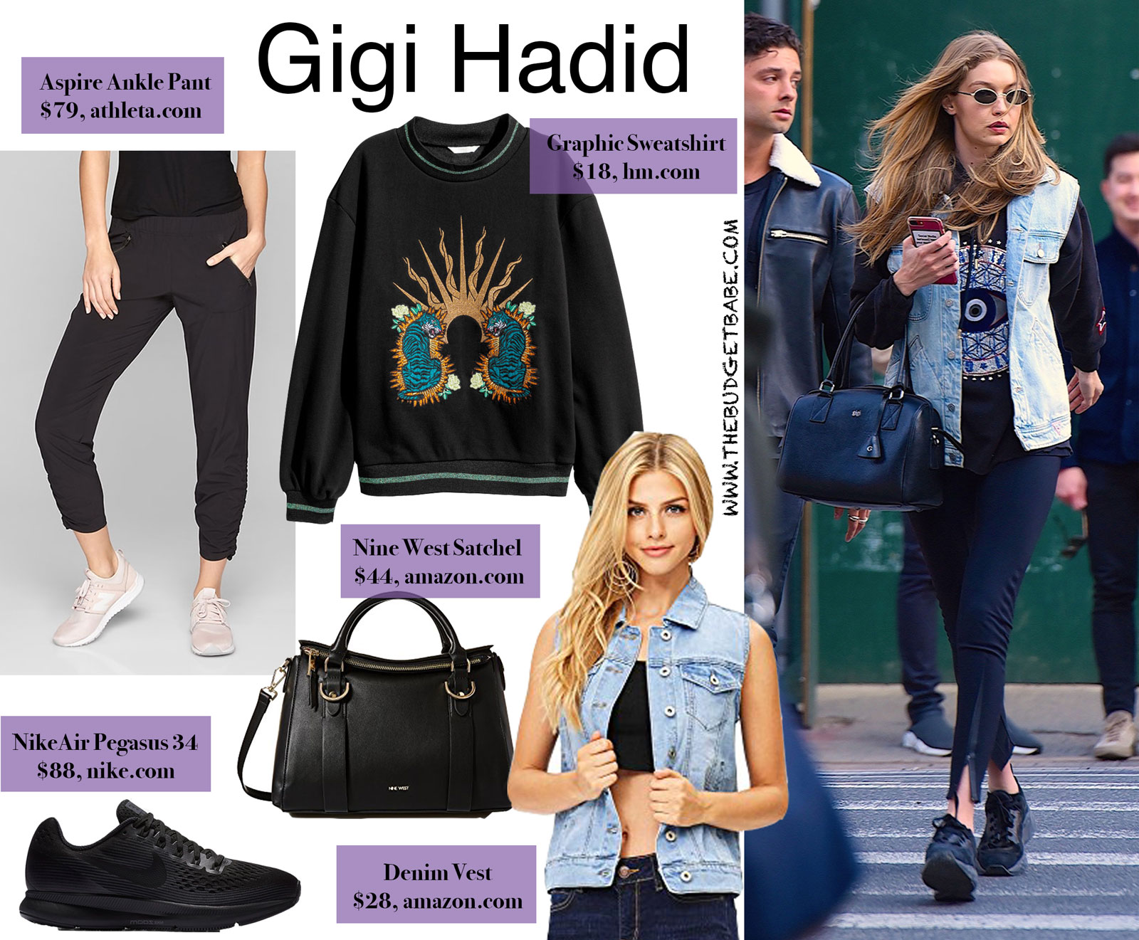 Gigi Hadid's Denim Vest and Graphic Sweatshirt