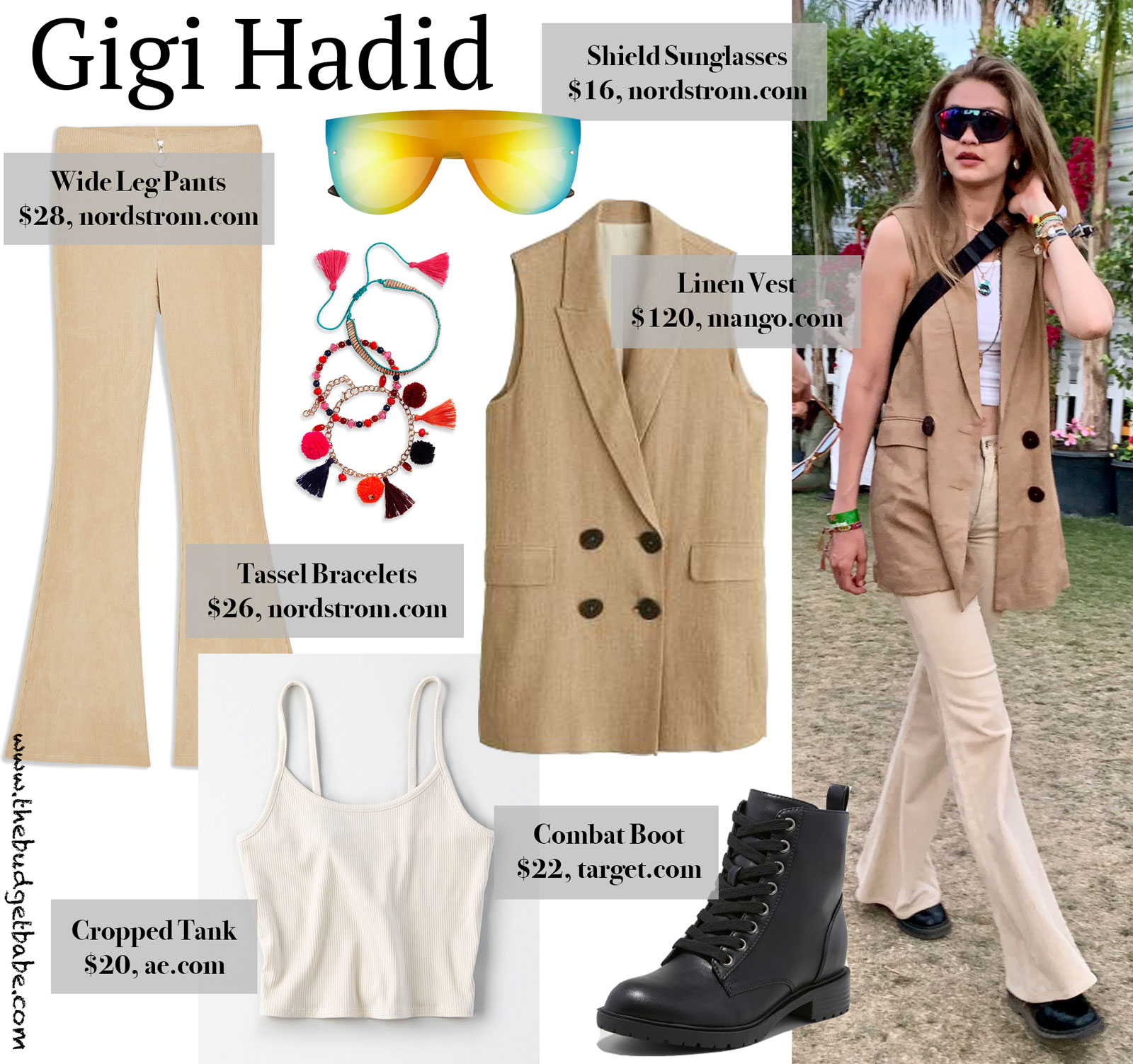 Gigi Hadid Tan Vest and Wide Leg Pants Look for Less