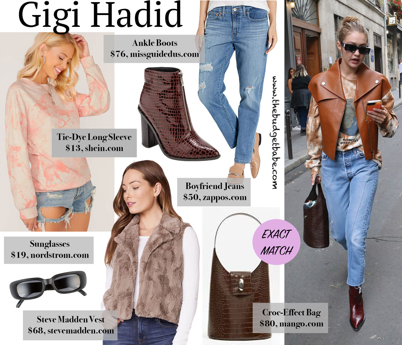 Gigi Hadid Vest and Mango Bag Look for Less
