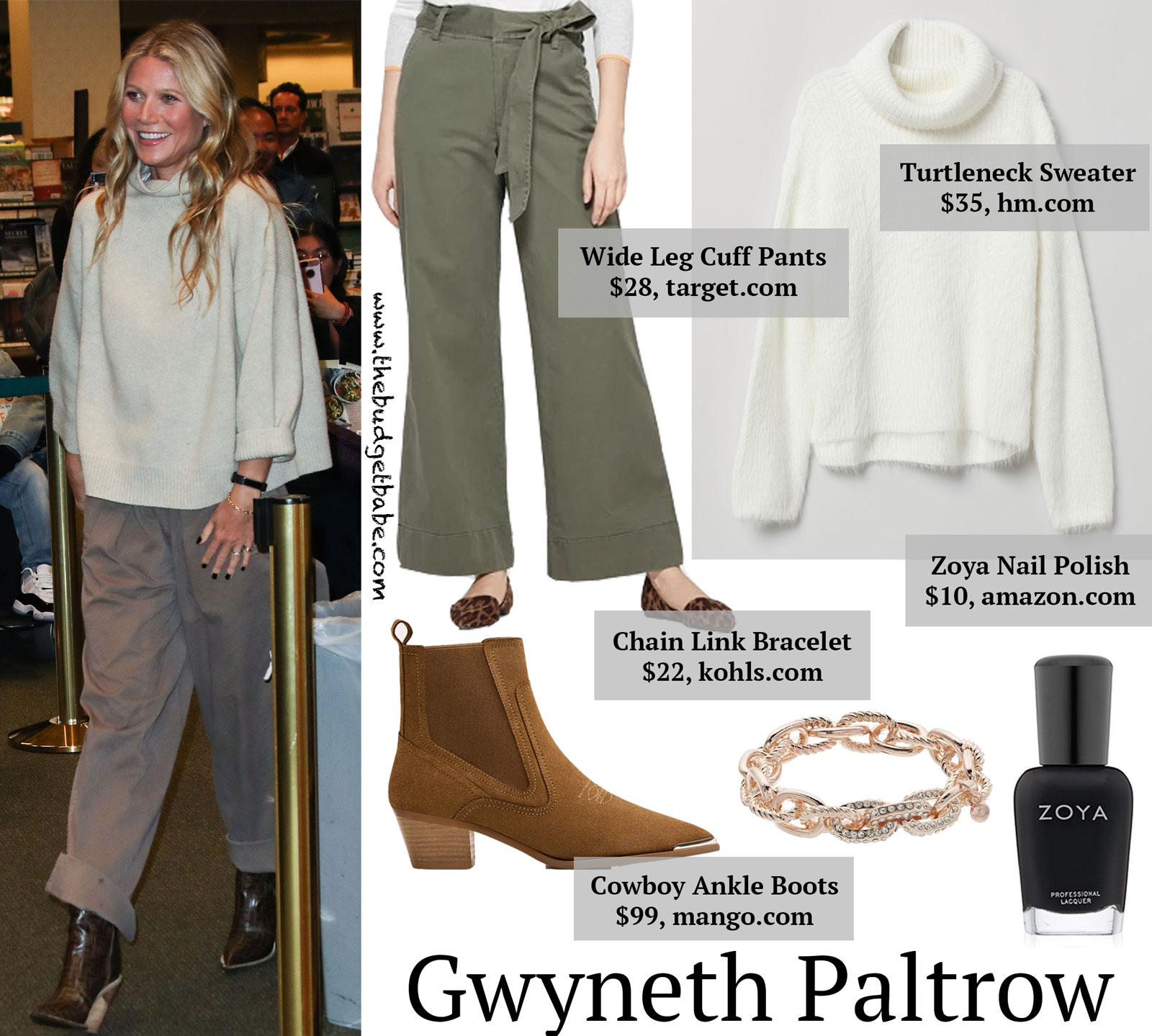 Gwyneth Paltrow Fendi Boots and Wide Leg Pants Look for Less