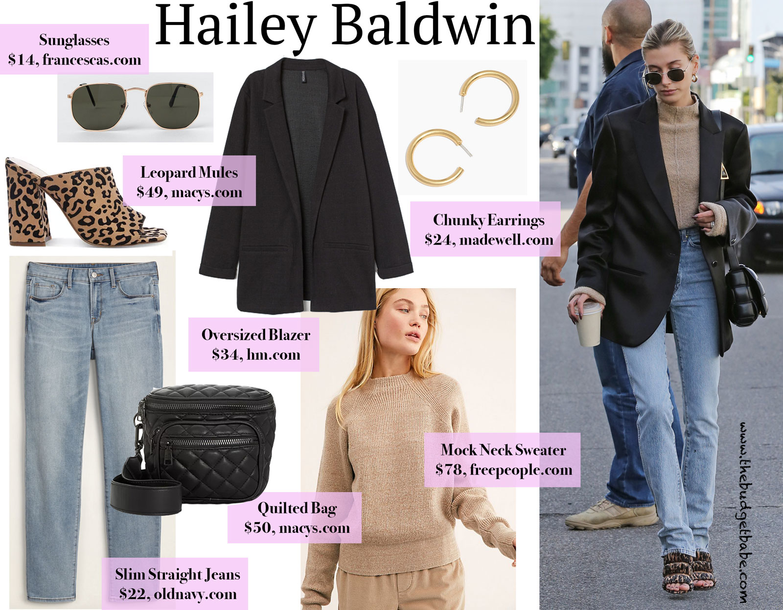 Hailey Baldwin Leopard Sandals and Tan Sweater Look for Less