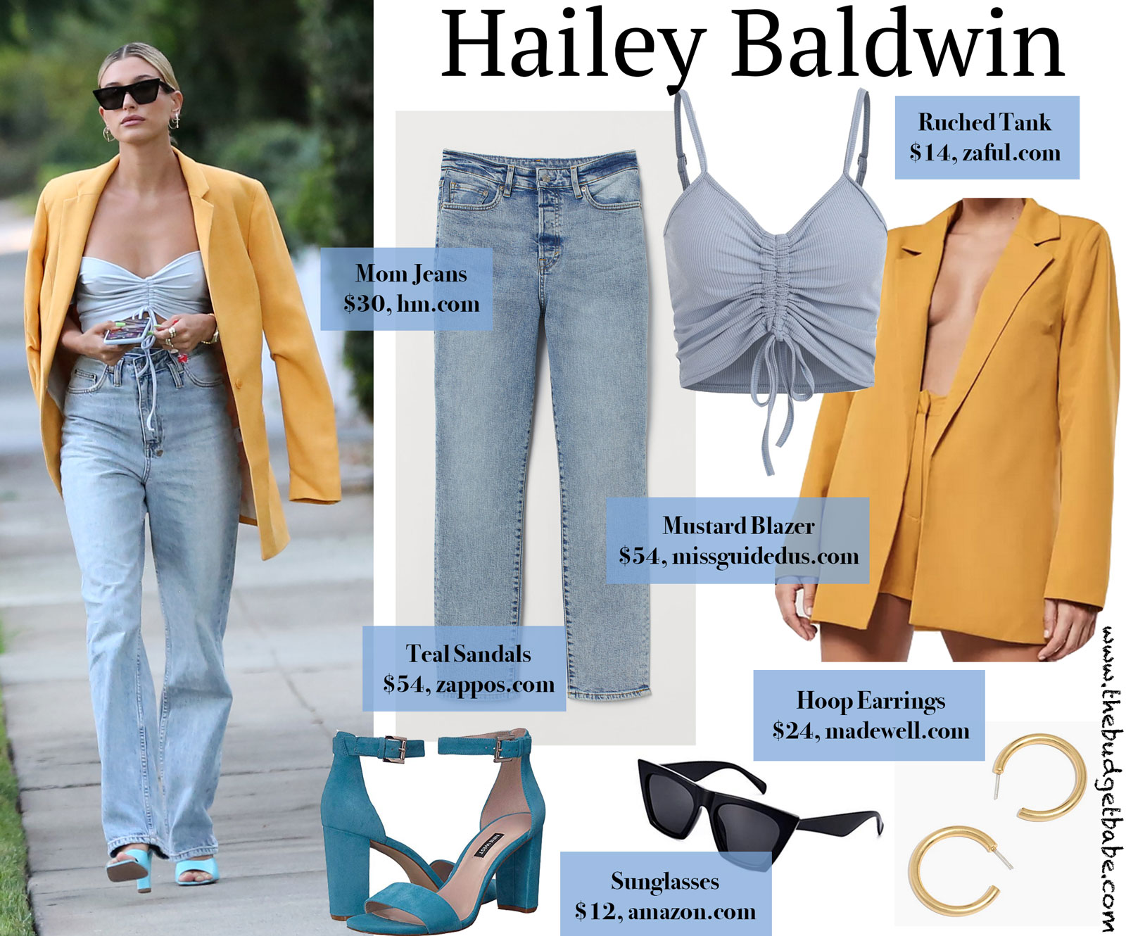 Hailey Baldwin Mustard Blazer Look for Less