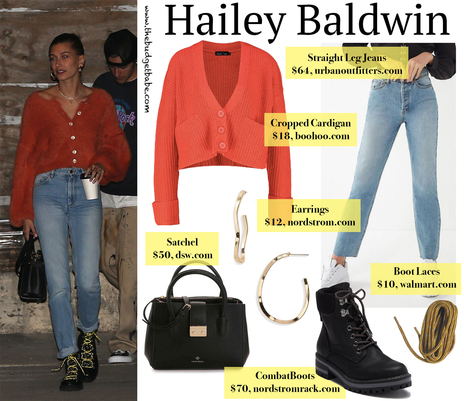 Hailey Baldwin Orange Cardigan Look for Less