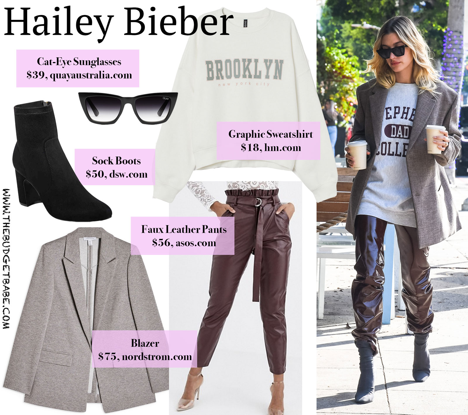 Hailey Bieber Graphic Sweatshirt Leather Pants Look for Less