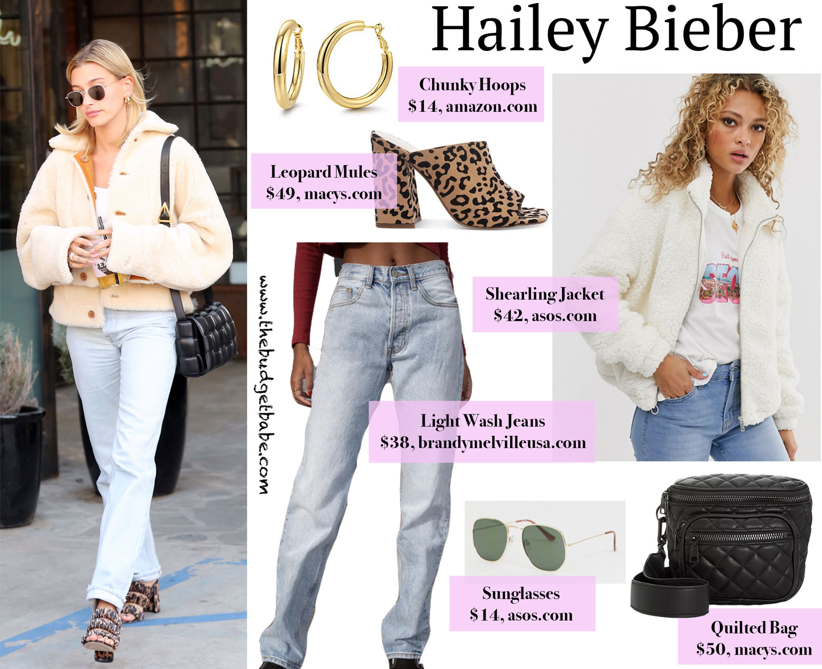 Hailey Bieber Shearling Jacket Leopard Sandals Look for Less