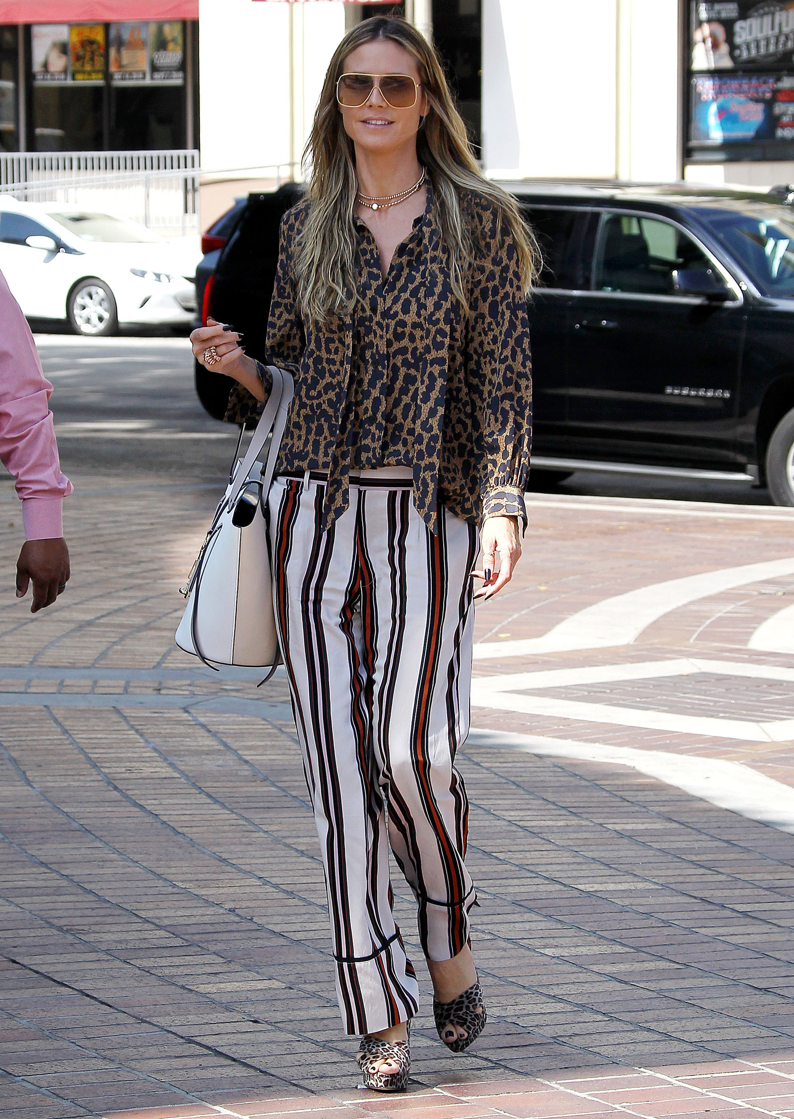 Heidi Klum Leopard Top Striped Pants