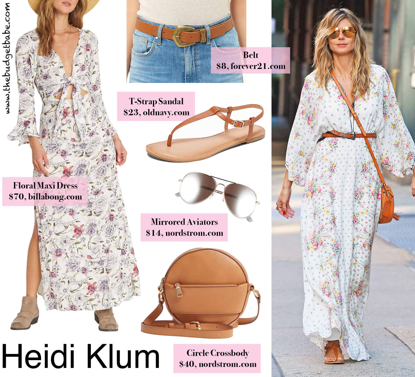 5c4c1e3bb30 Heidi Klum s White Floral Maxi Dress and T-Strap Sandals Look.