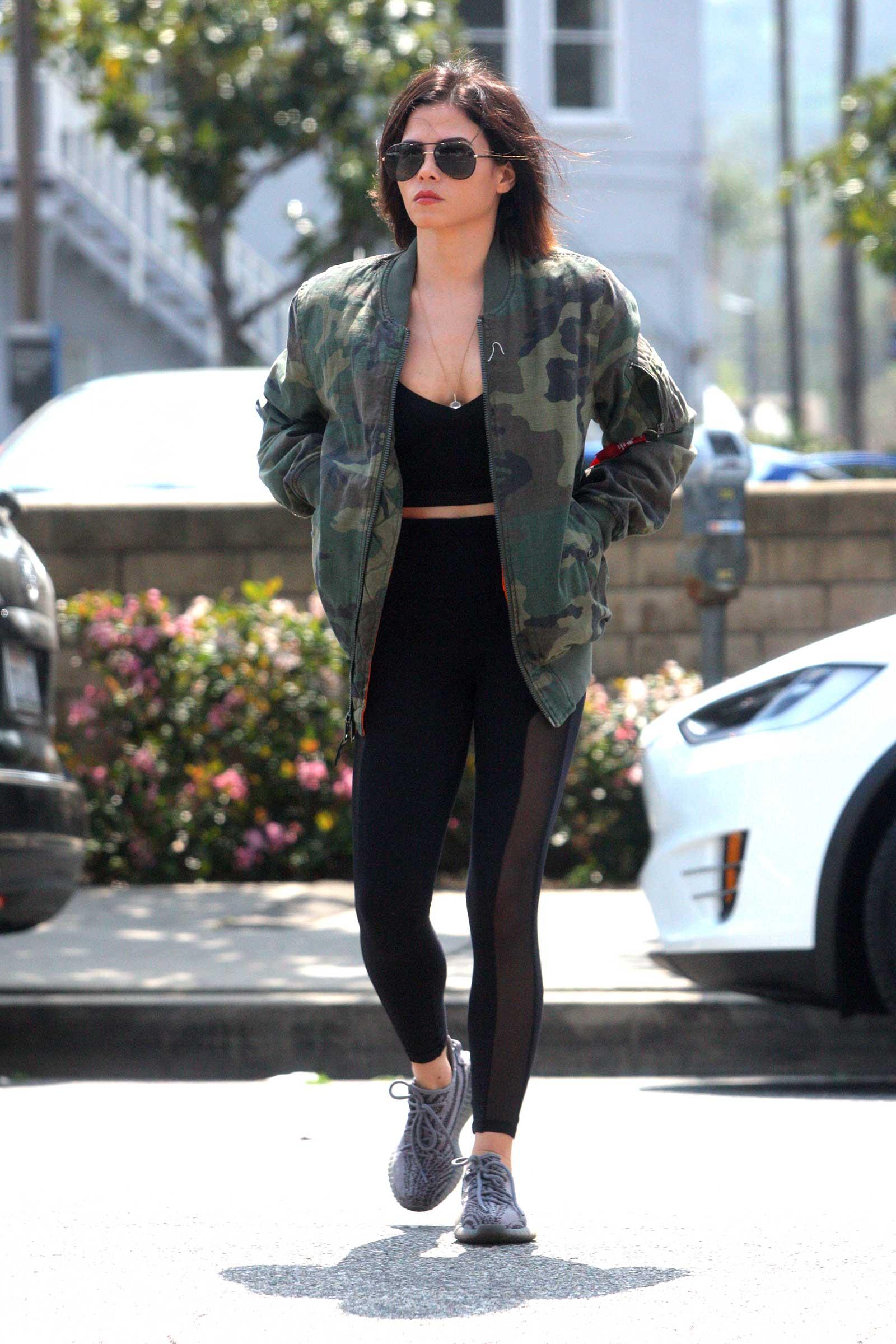 4975bf628dd002 Jenna Dewan's Camo Jacket & Mesh Leggings Look for Less - The Budget ...