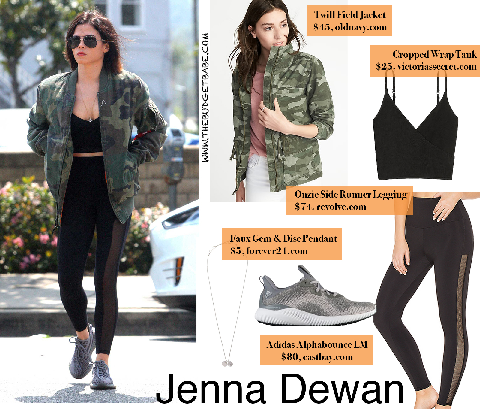 Jenna Dewan Camo Jacket and Mesh Leggings Look for Less