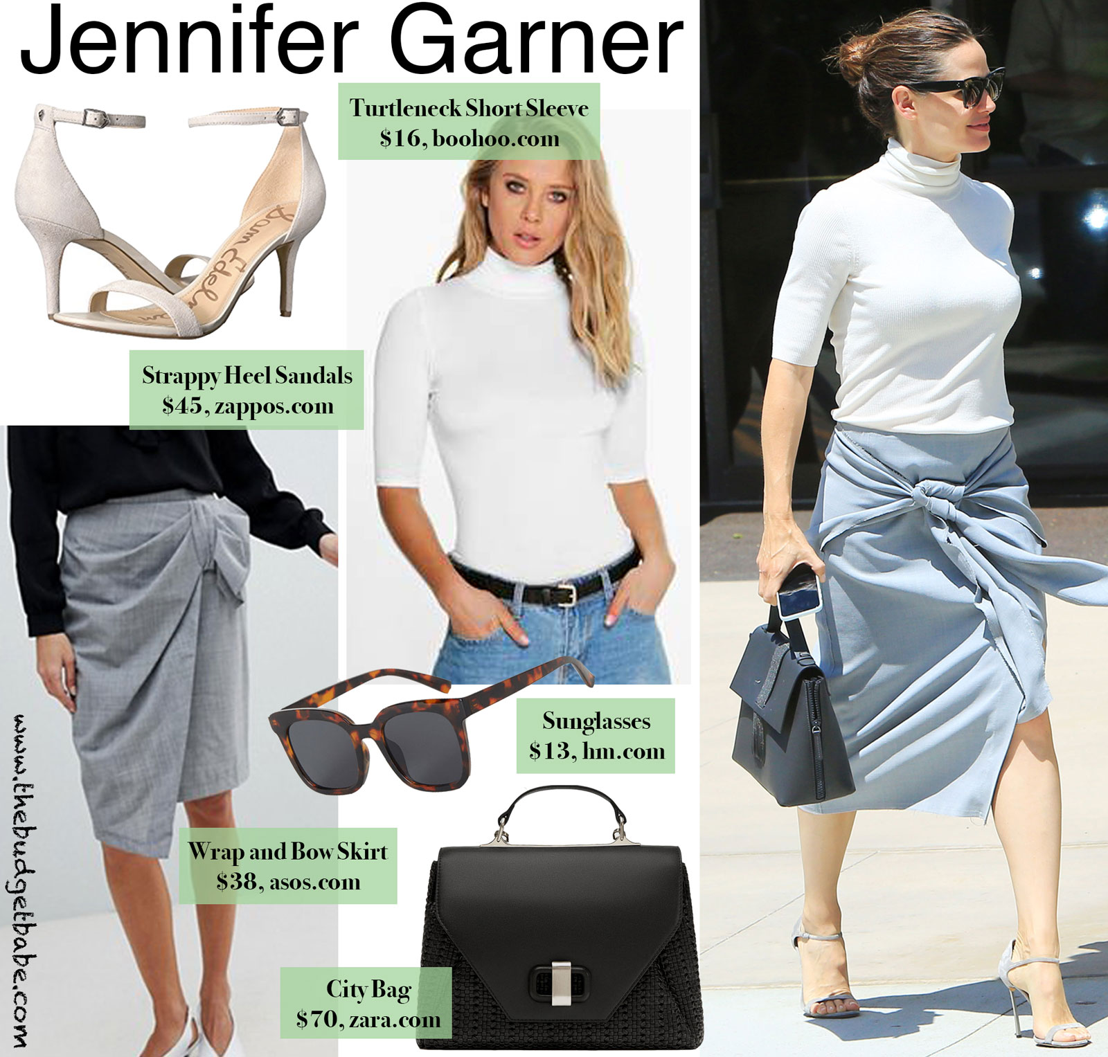 Jennifer Garner Turtleneck and Tie Front Look for Less