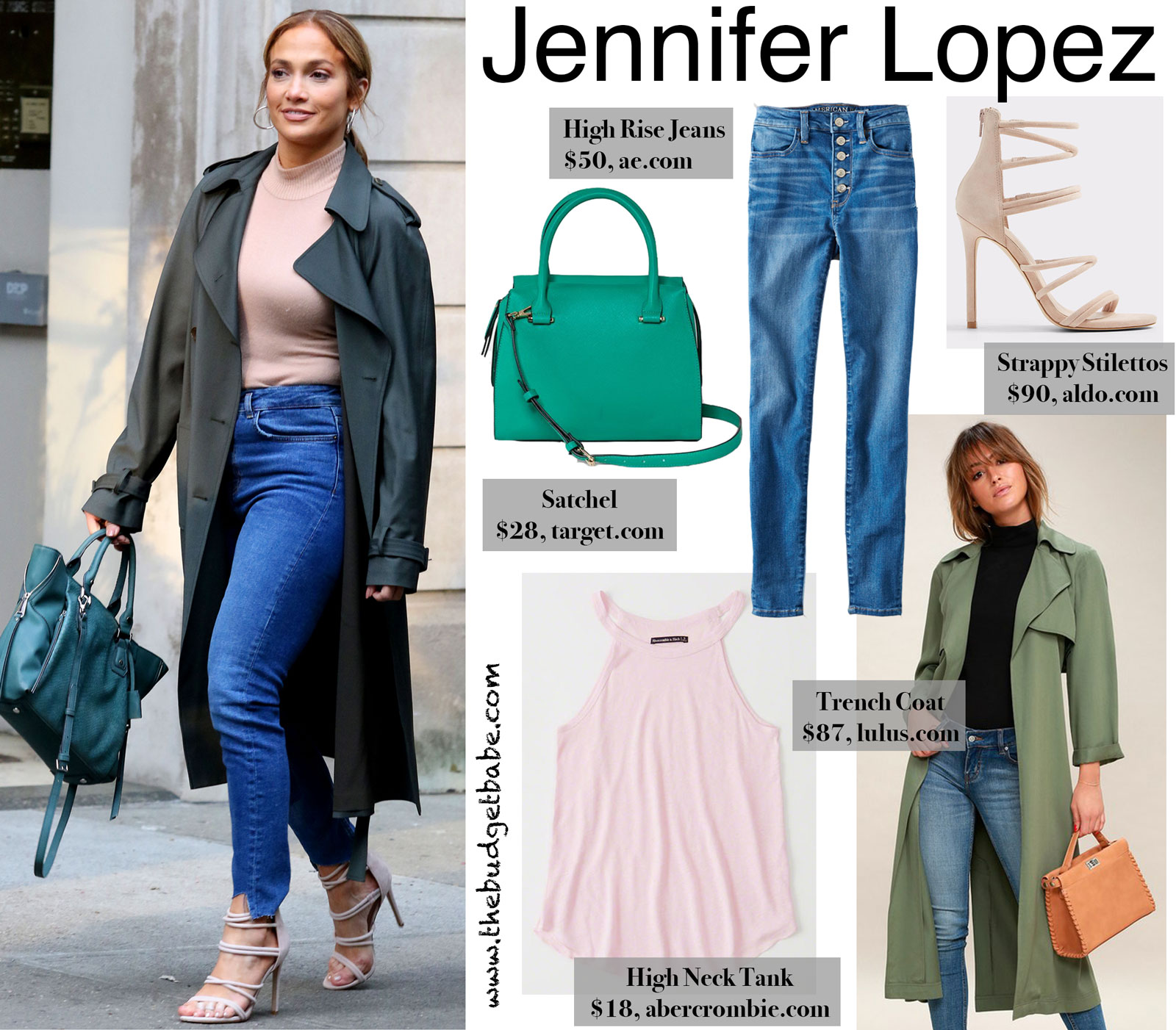 Jennifer Lopez Green Trench Coat and Satchel Look for Less