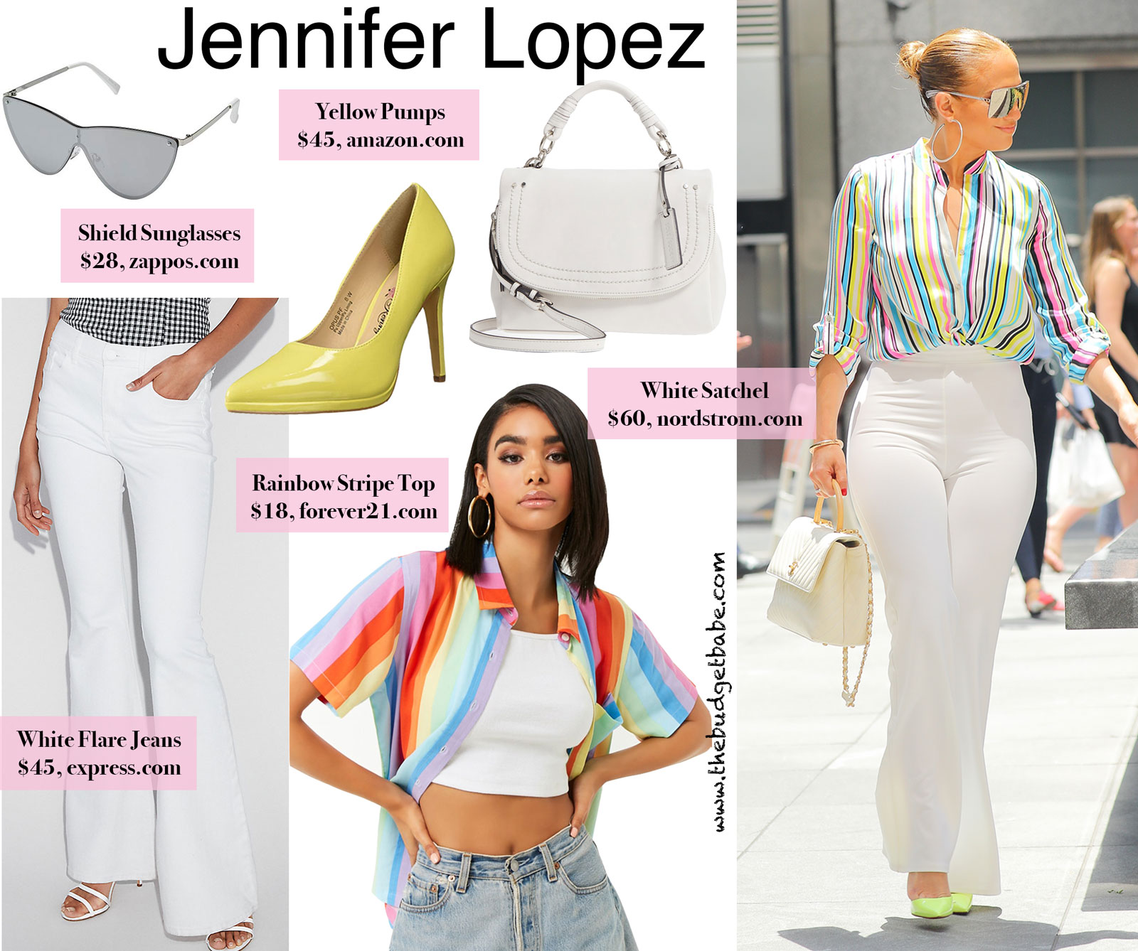 87f8347a232 Jennifer Lopez s Rainbow Striped Top and White Flare Pants.