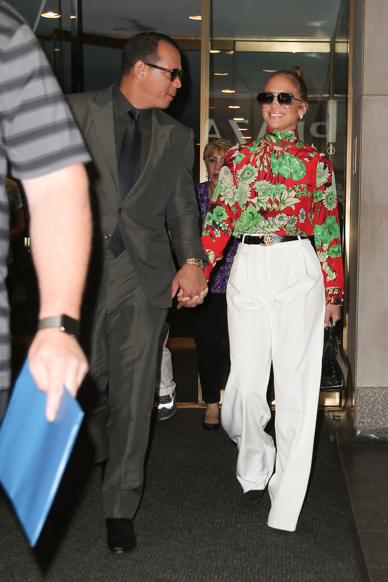 Jennifer Lopez White Trousers Floral Gucci Blouse