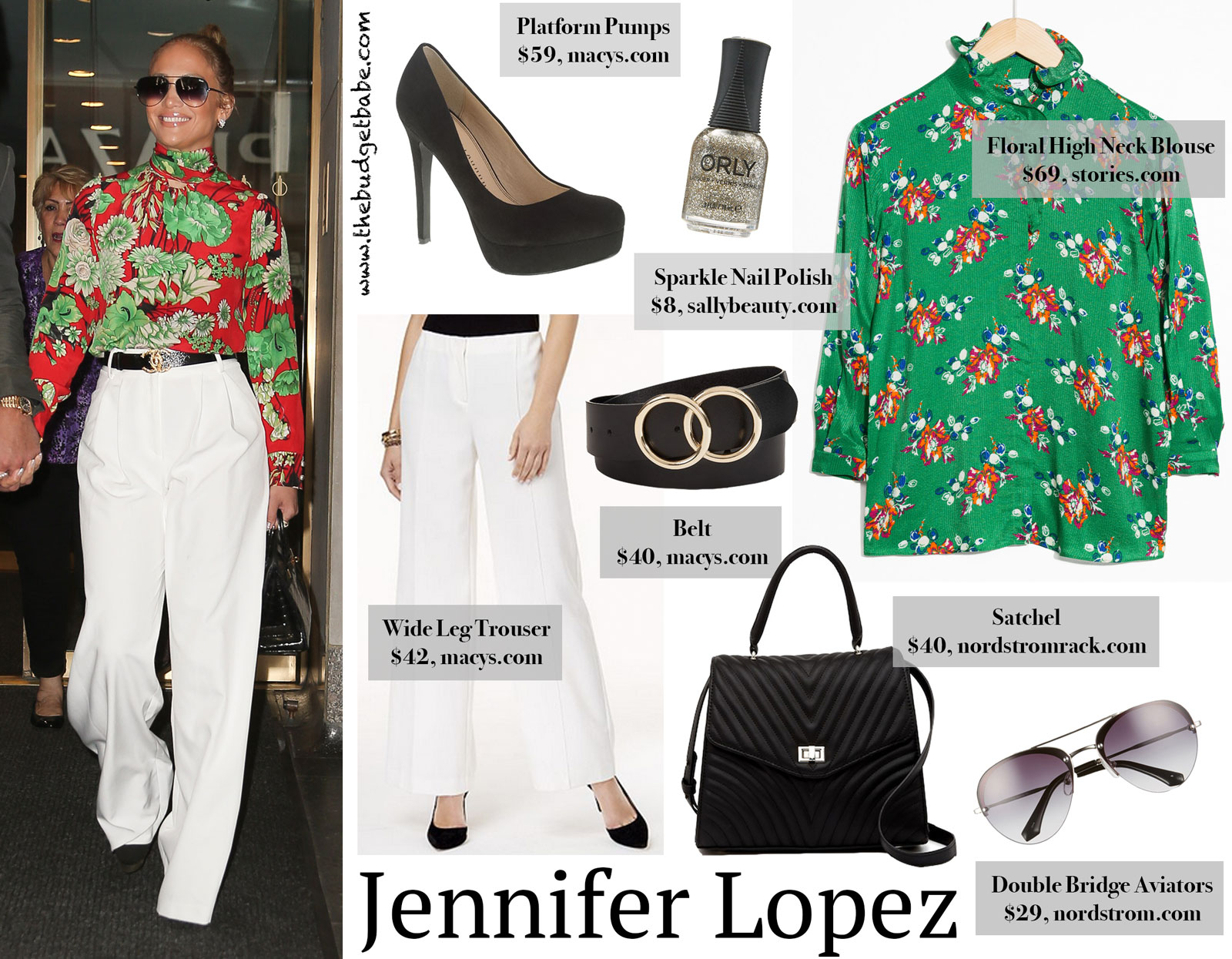 Jennifer Lopez White Trousers Floral Gucci Blouse Look for Less