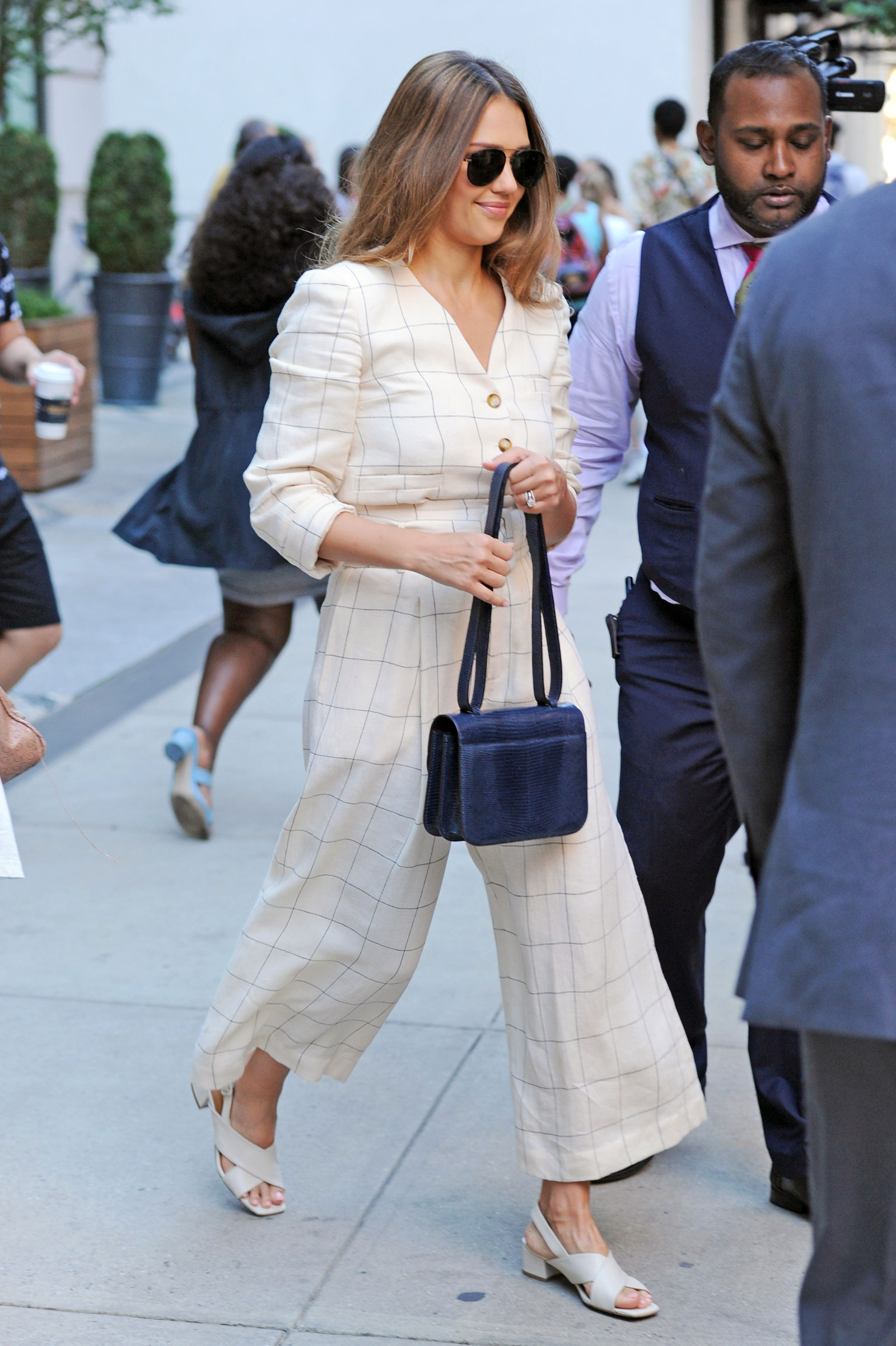 Jessica Alba Check Button Jumpsuit Look for Less