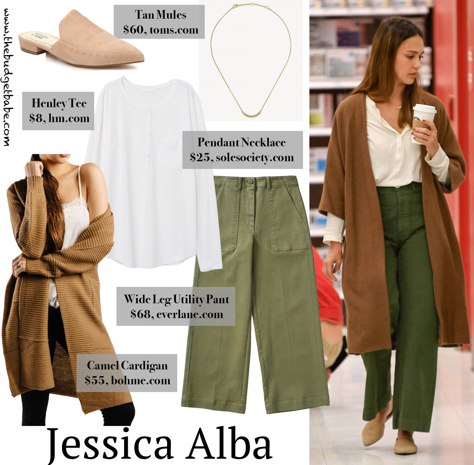 Jessica Alba Green Pants and Camel Cardigan Look for Less