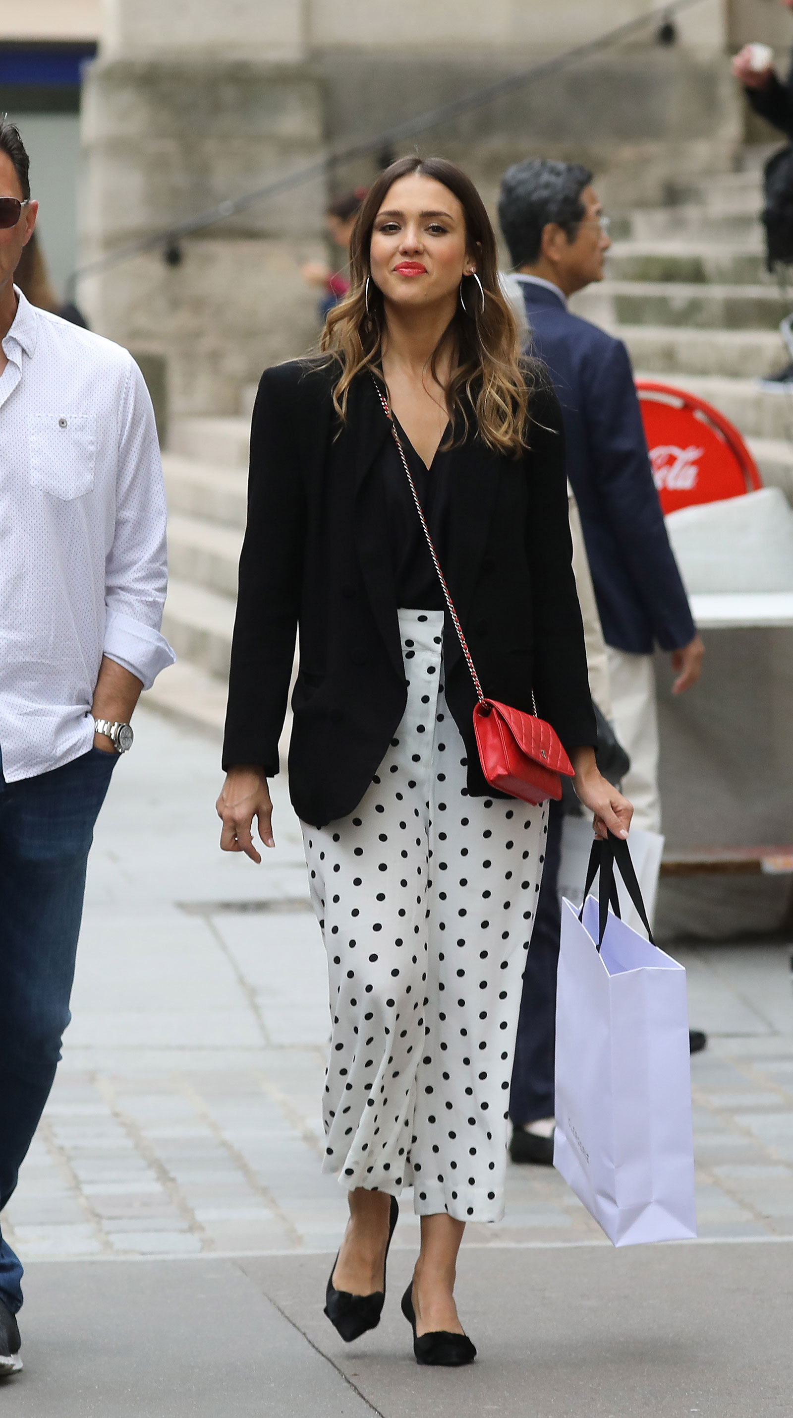 Jessica Alba Polka Dot Culotte Pants and Chanel Bag