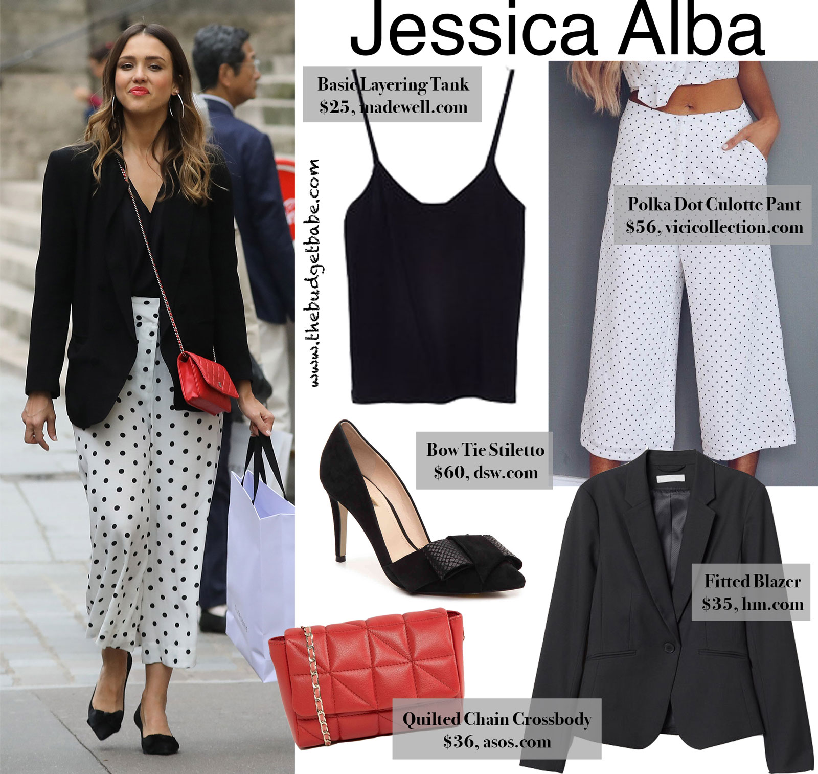 Jessica Alba Polka Dot Culotte Pants Look for Less
