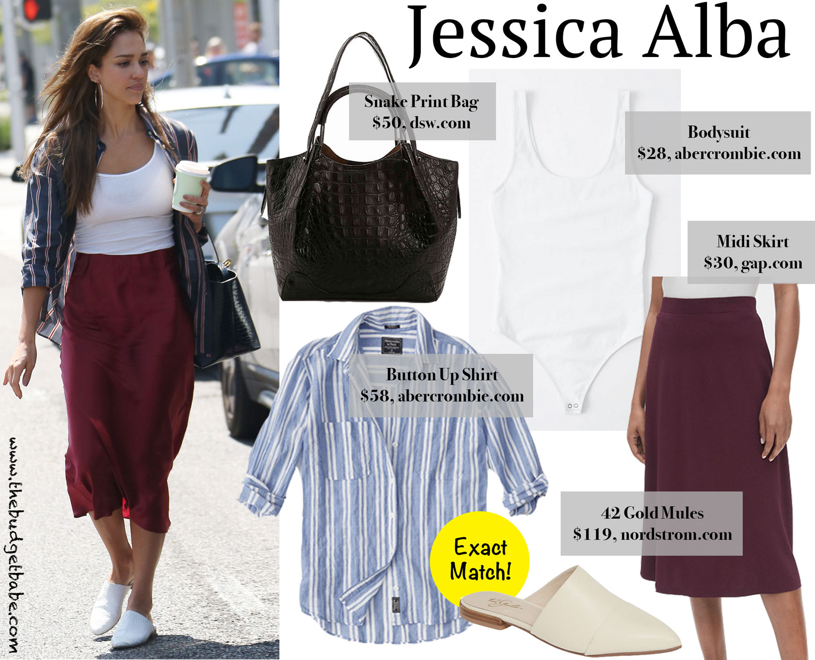 Jessica Alba Red Midi Skirt Look for Less