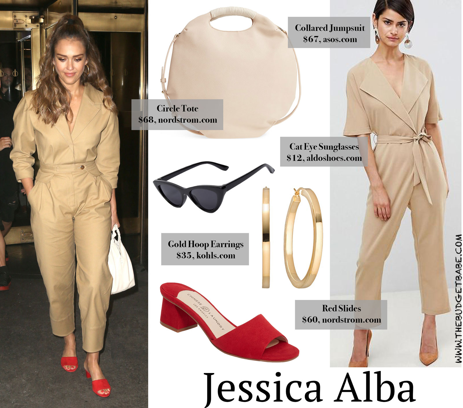 Jessica Alba Tan Jumpsuit and Red Slides Look for Less