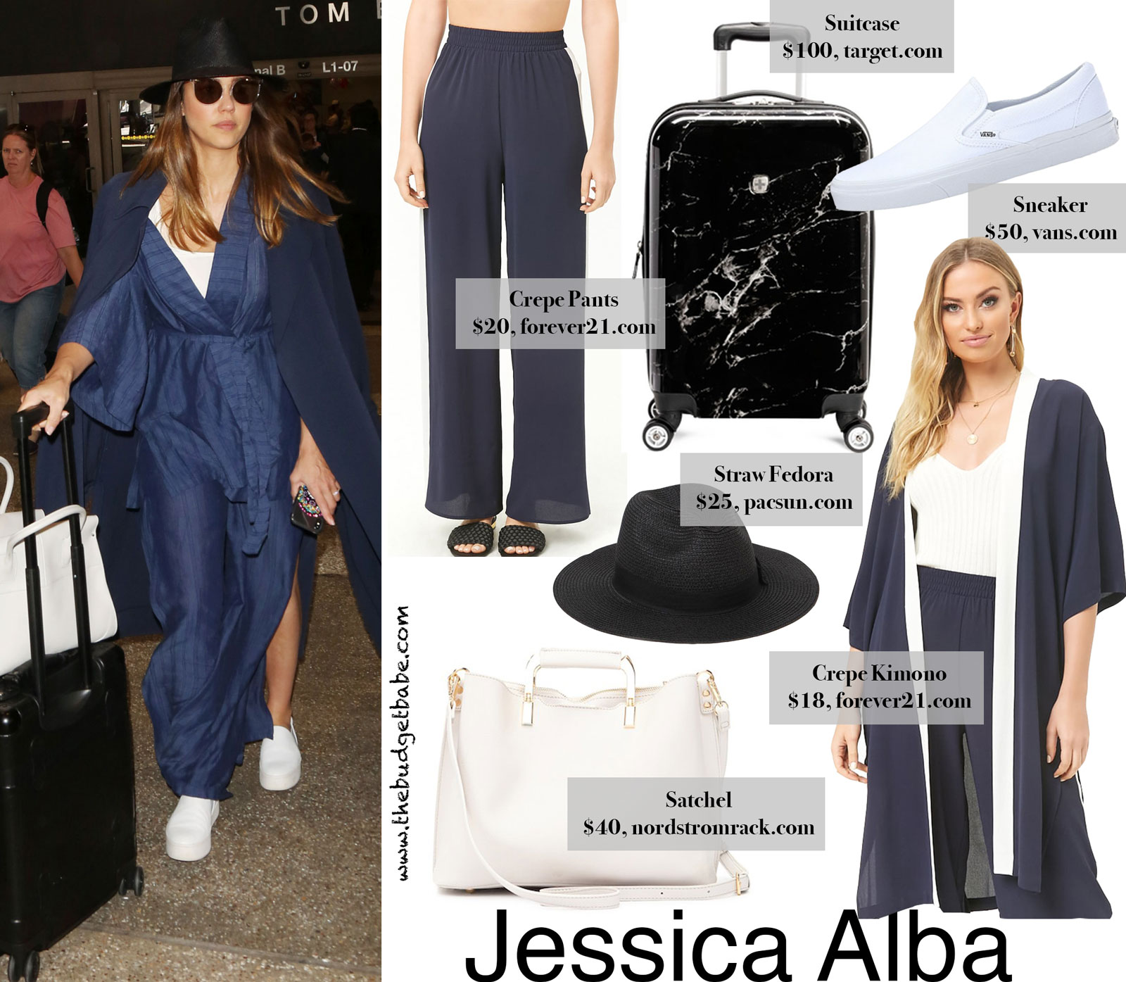 Travel In Style For Less Jessica Alba In Wide Leg Pants And Kimono