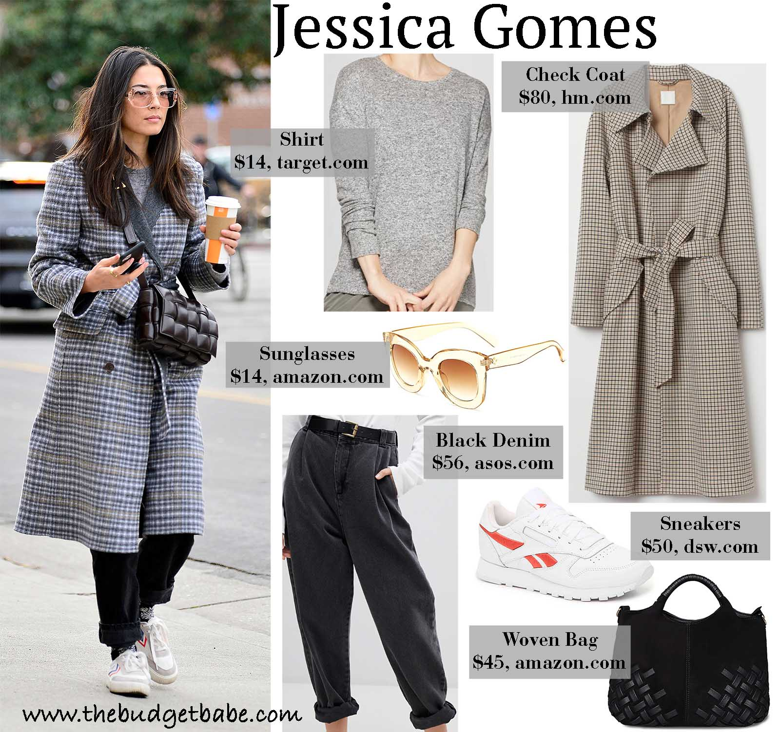 Jessica Gomes keeps warm in a stylish check coat.