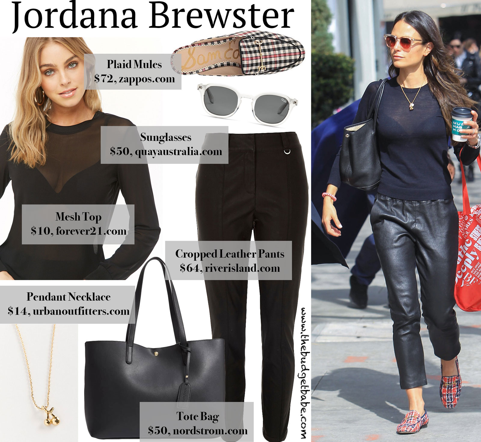 Jordana Brewster Mesh Top and Leather Cropped Pants Look for Less
