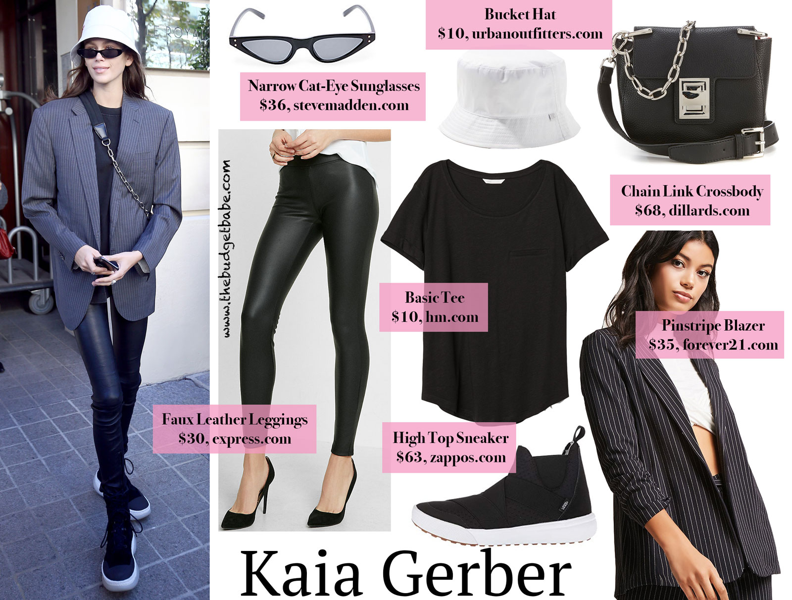c905777ae05122 Kaia Gerber's Pinstripe Blazer and Leather Leggings Look for Less