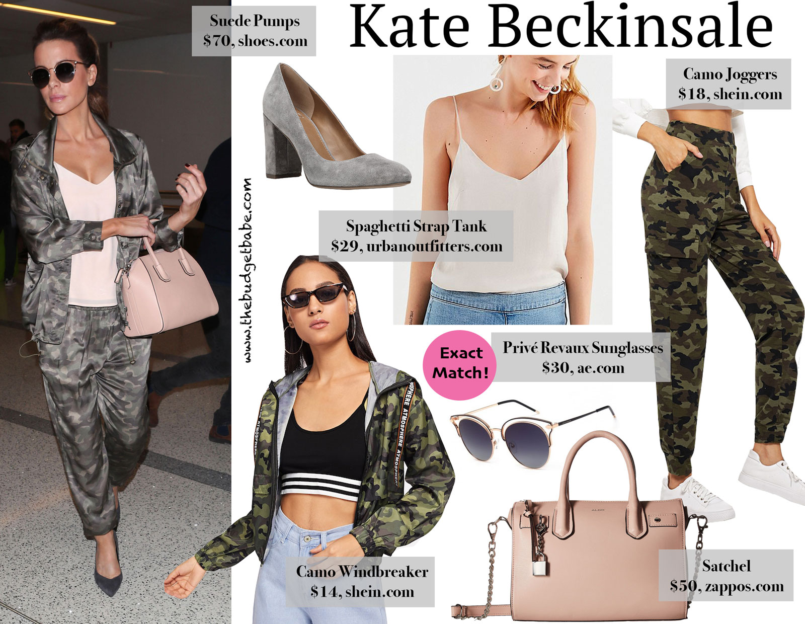 Kate Beckinsale Camo and Privé Revaux Sunglasses Look for Less