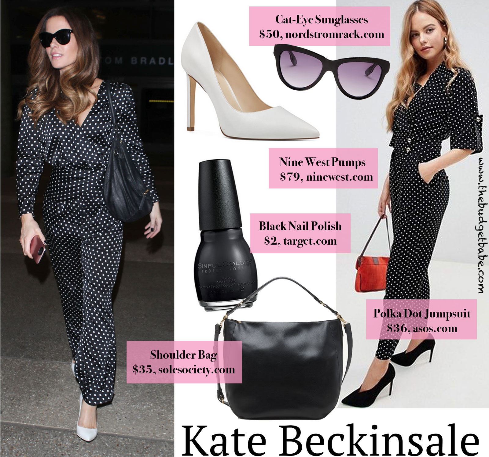 8bd4c51706b Look for Less  Kate Beckinsale in Polka Dots and White Pumps