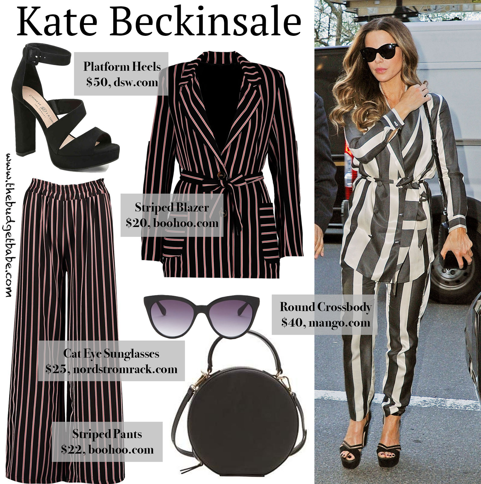 Kate Beckinsale Striped Pants and Blazer Look for Less