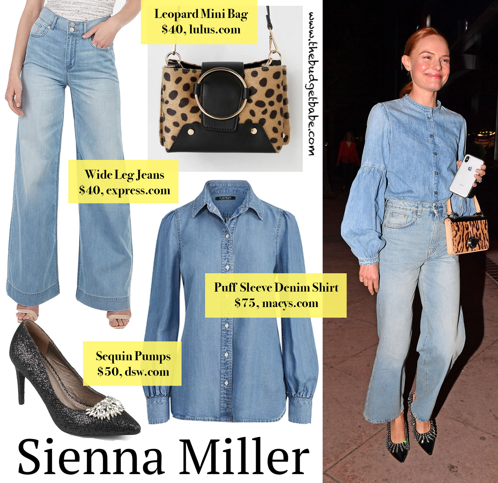 c078011a Kate Bosworth's Puff Sleeve Denim Shirt, Wide Leg Jeans, and Leopard ...
