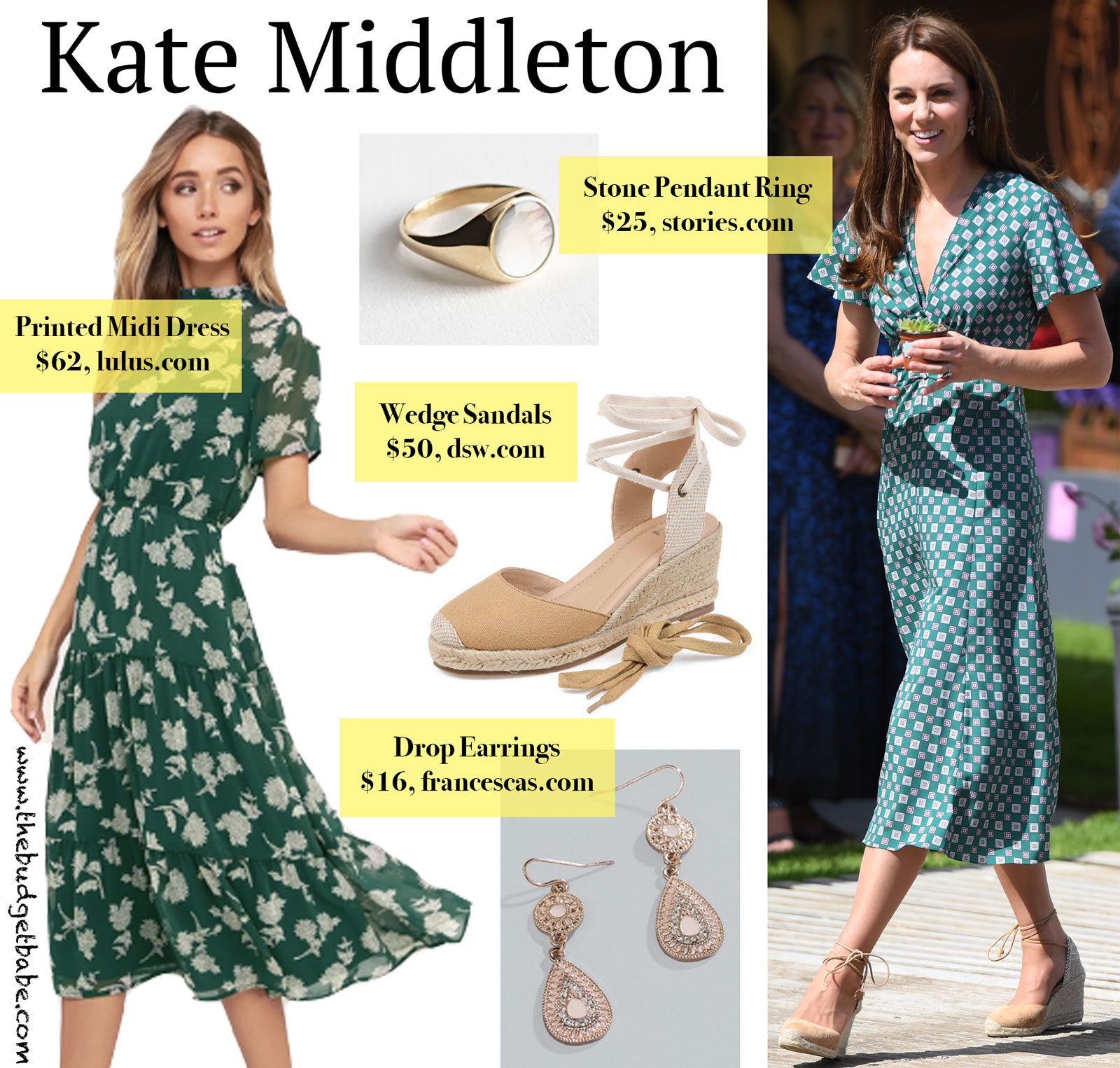 Kate Middleton Printed Green Midi Dress Look for Less