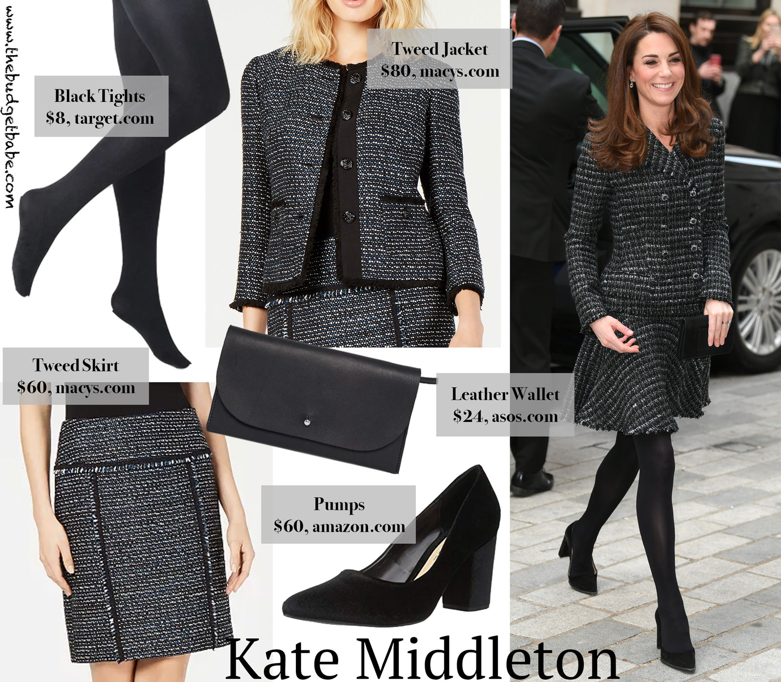 Katie Middleton Tweed Blazer and Skirt Look for Less